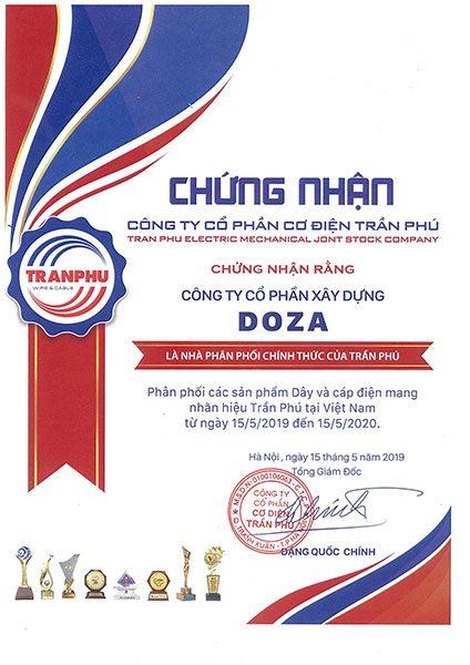 Chứng nhận nhà phân phối chính thức từ công ty cáp điện Trần Phú